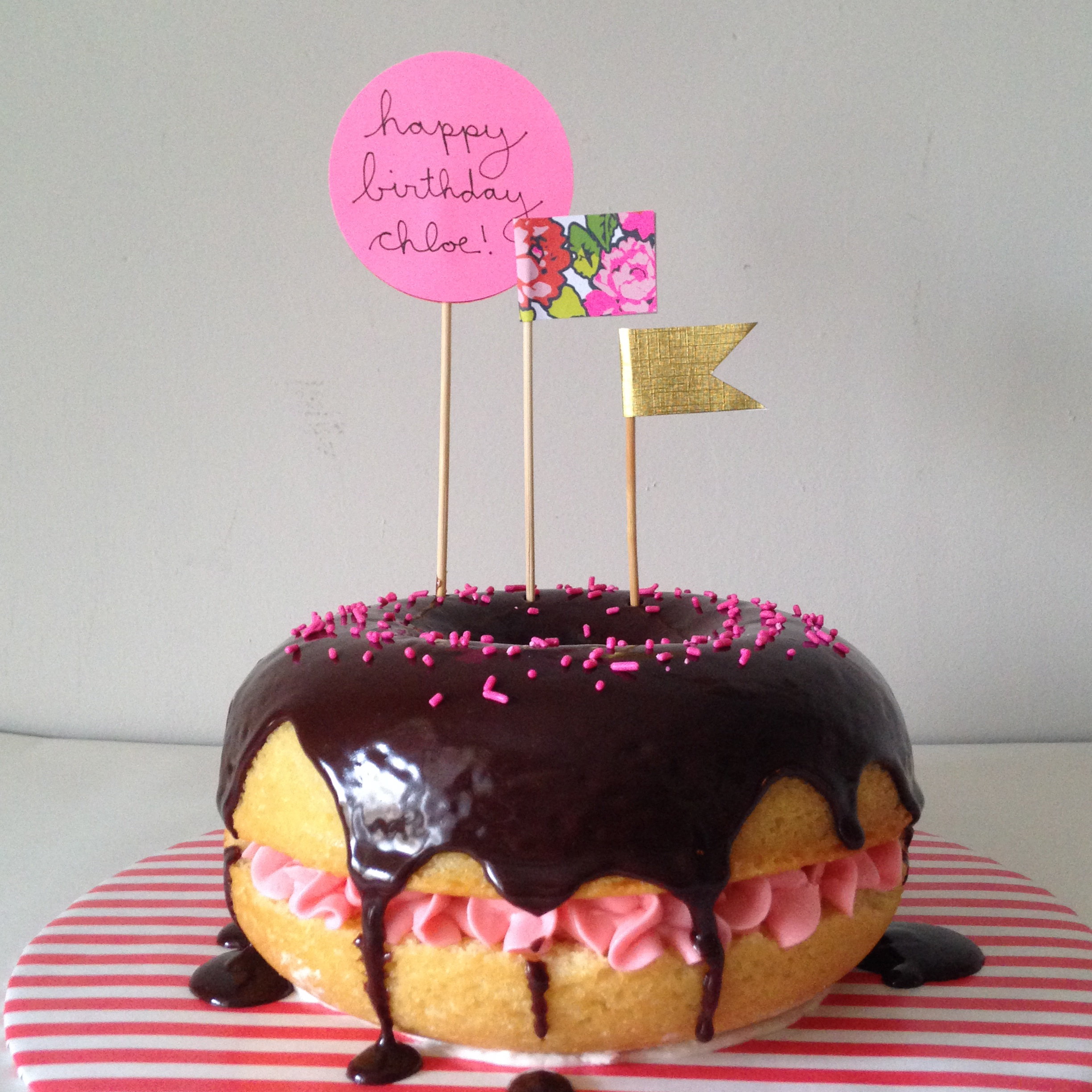 doughnut cake with paper flags