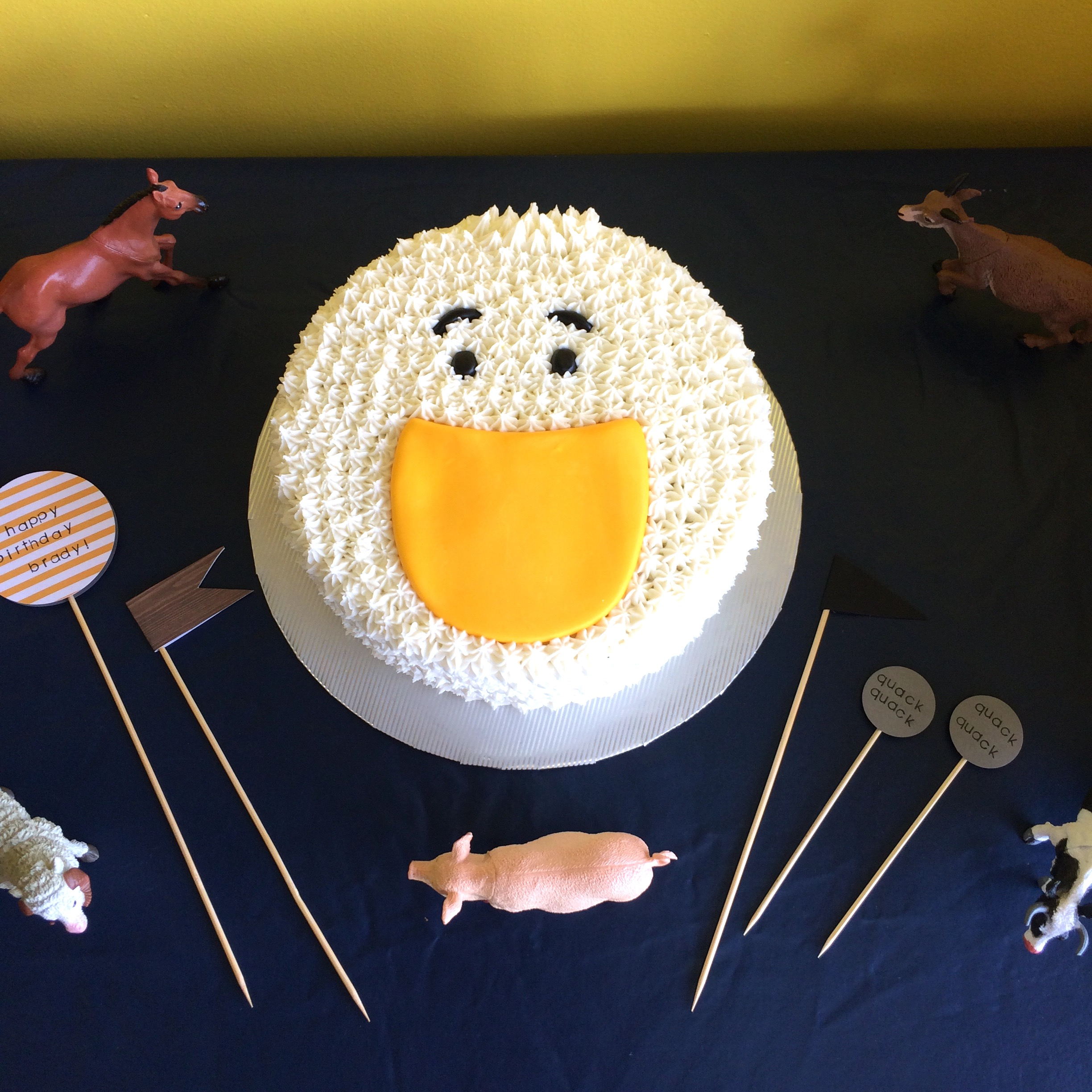 duck cake at farm animal party
