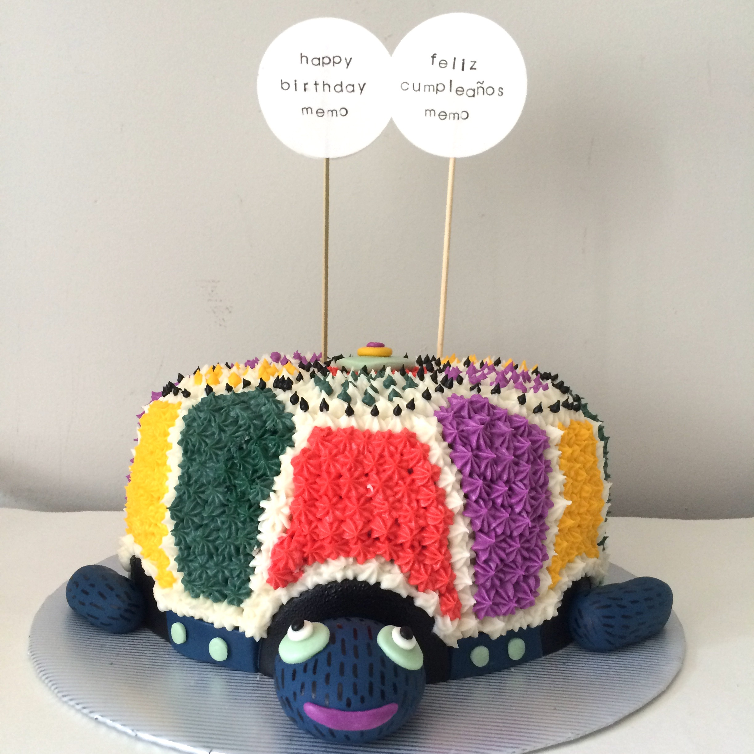 oaxacan turtle cake with paper flags