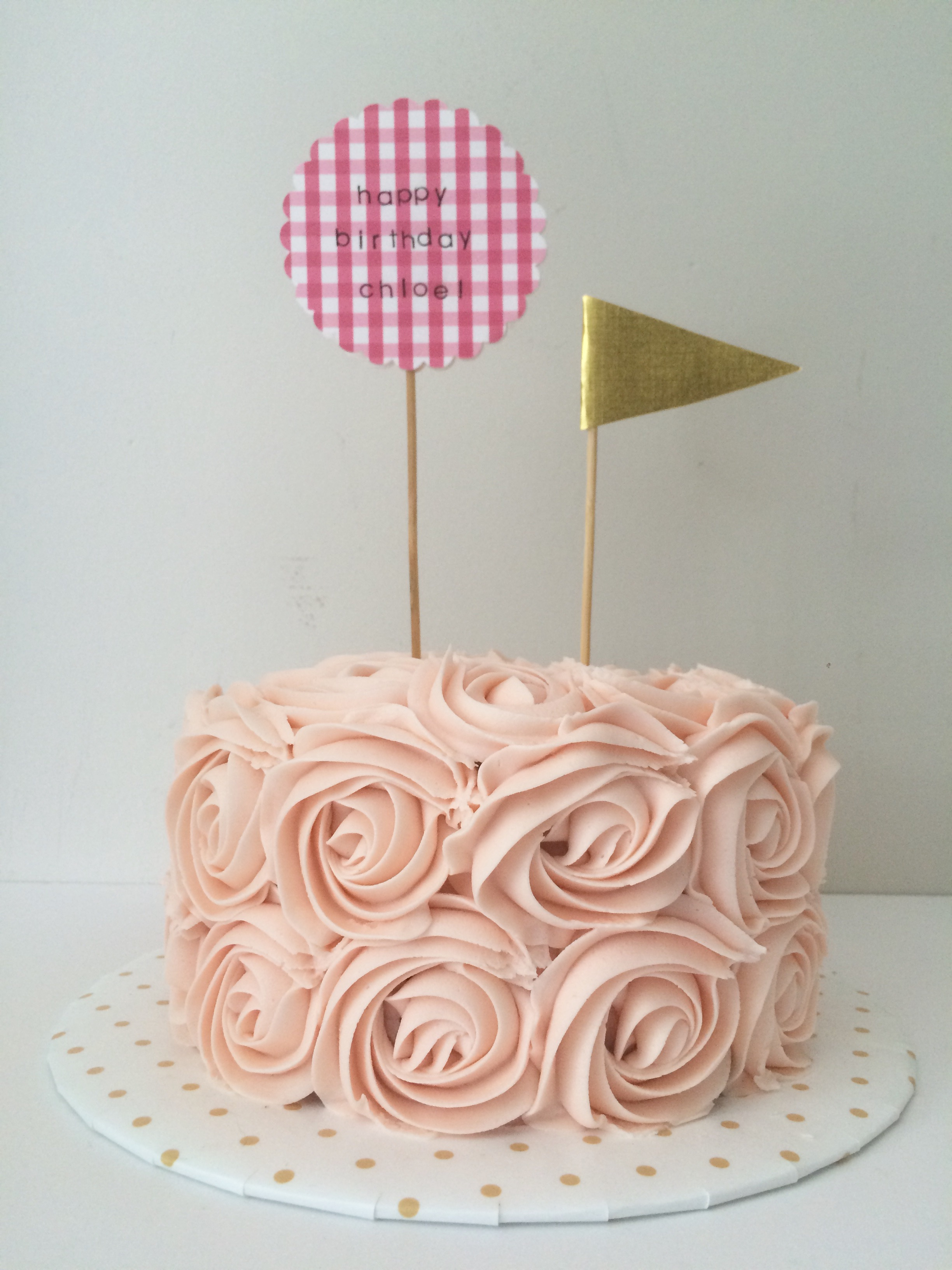 first birthday rose cake