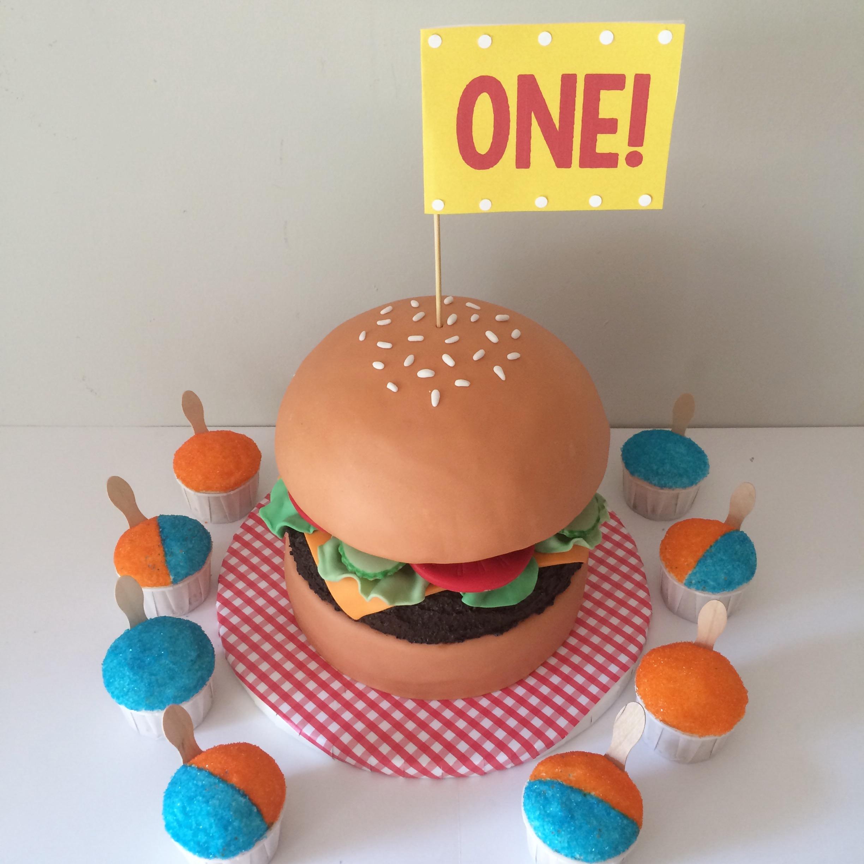 hamburger cake and snocone cupcakes