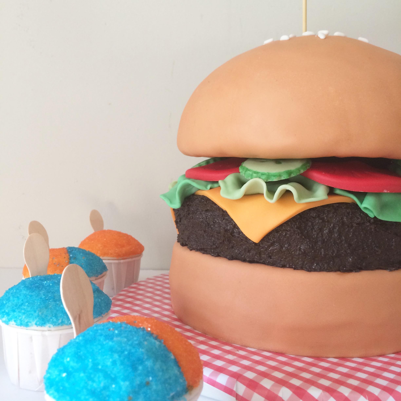 hamburger cake detail