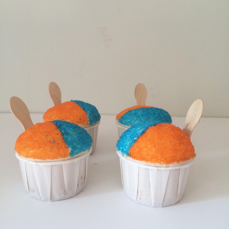 orange and blue snocone cupcakes