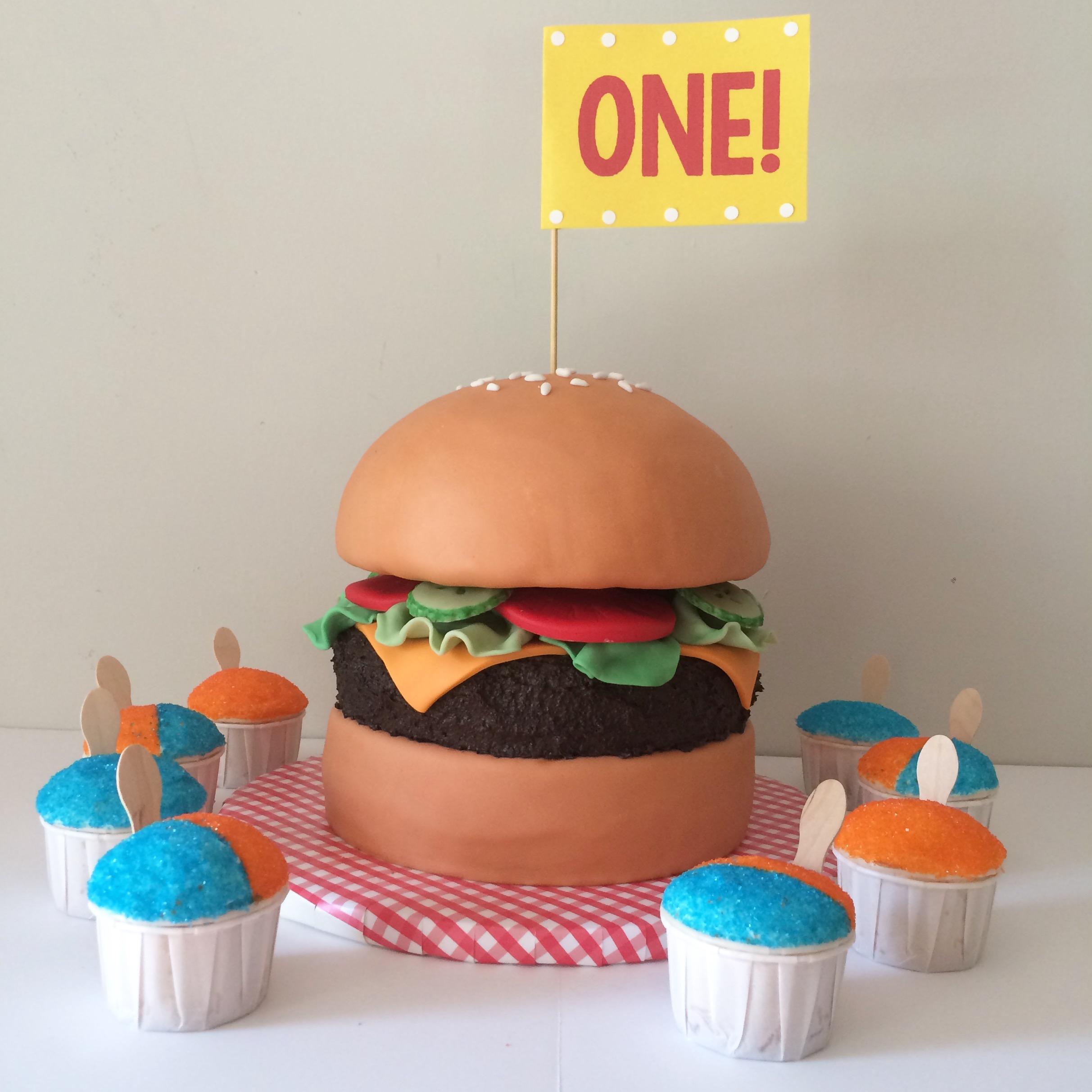 snocone cupcakes and hamburger cake
